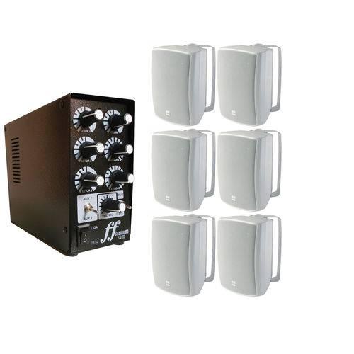 Kit 6 Caixas de Som Aw4 Selada + Amplificador e Setorizador