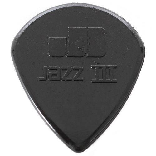 Kit 6 Palhetas Dunlop Jazz 3 Nylon Preta 1.38mm para Guitarra Violão Baixo