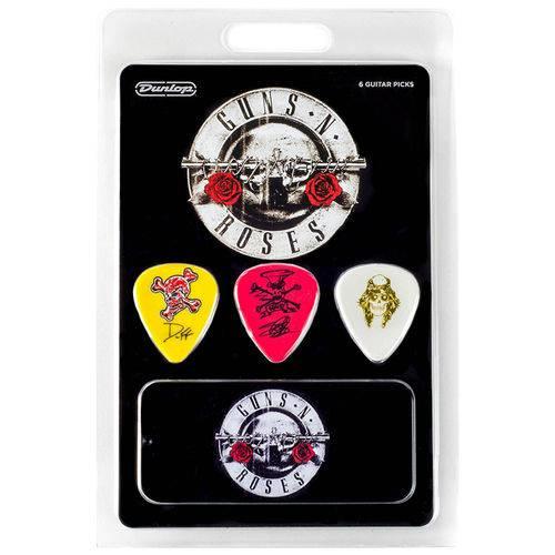 Kit 6 Palhetas Dunlop Tortex Guns N Roses Colecionador Lata para Guitarra Baixo Violão