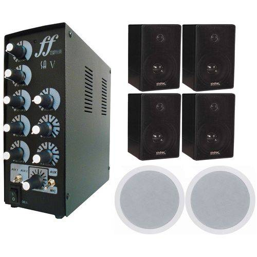 Kit Amplificador Setorizador 4 Caixas Dsk65 + 2 Arandelas 68w