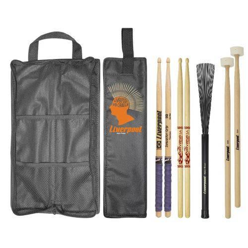Kit Baquetas 5A 5B Vassourinhas Malet com Bag LIVERPOOL
