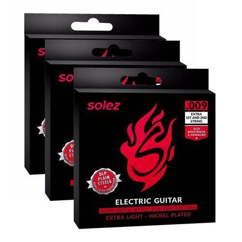 Kit C/ 3 Encordoamentos Solez P/ Guitarra 009
