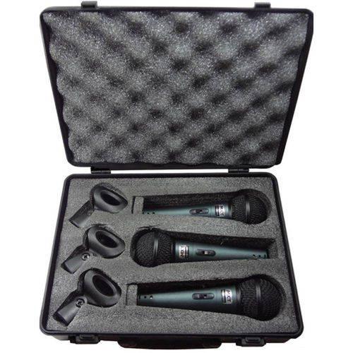 Kit C/ 3 Microfones Profissionais Mxt Bt57a Cachimbos + Maleta