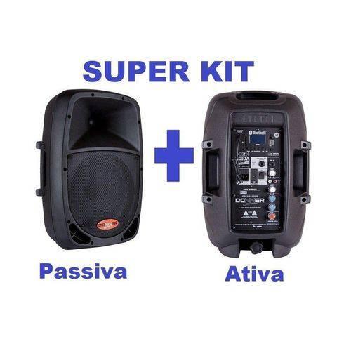 "Kit Caixa Ativa 10"" USB, Bt, Sdcard + Passiva 10"" 120 Wrms Llaudio - Donner"