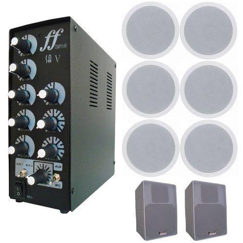 Kit 2 Caixa Branca + 6 Arandela Embutir + Amplificador