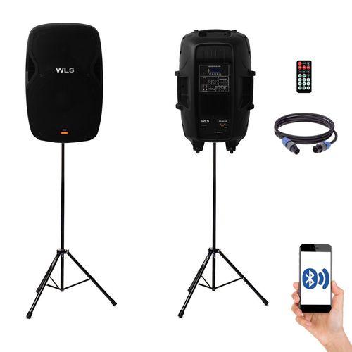 Kit Caixa de Som Ativa Passiva Wls S15 Bluetooth 430w Rms + Tripe e Cabo