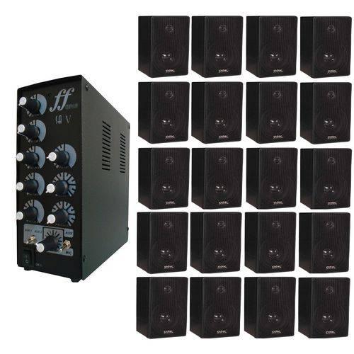 Kit com 20 Caixa Som Ambiente Dsk 65w + 1 Amplificador e Setorizador de 5 Canais 180w