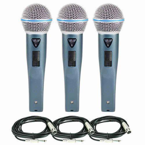 Kit com 03 Microfones Rhodon-8b com Cabos Xlr-p10