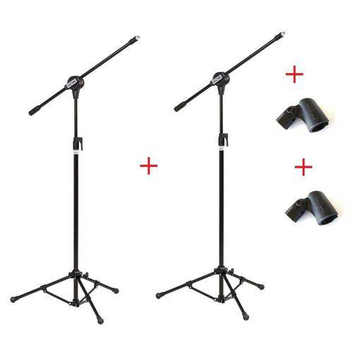 Kit com 02 Pedestais Suportes Microfone com Cachimbo - Vector