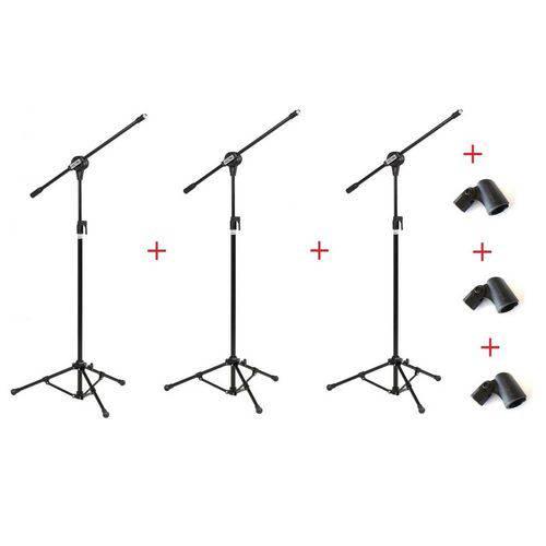 Kit com 03 Pedestais Suportes Microfone - Vector
