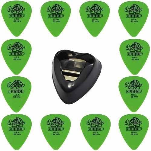 Kit com 12 Palhetas Guitarra Dunlop Tortex 1.0mm + Porta Palhetas Dunlop Ergo