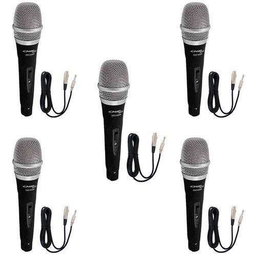 Kit com 5 - Microfone Dinâmico Profissional + Cabos 4 Metros Performance Sound Sc-226