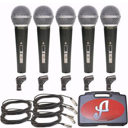 Kit com 5 Microfones Arcano Dinamicos com Fio Renius-8kit Xlr-Xlr
