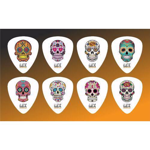 Kit com 8 Palhetas para Guitarra e Violão Tema Caveira Mexicana 001
