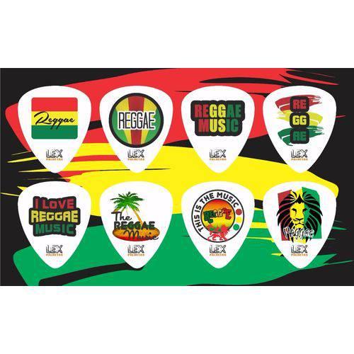 Kit com 8 Palhetas para Guitarra e Violão Tema Reggae 001
