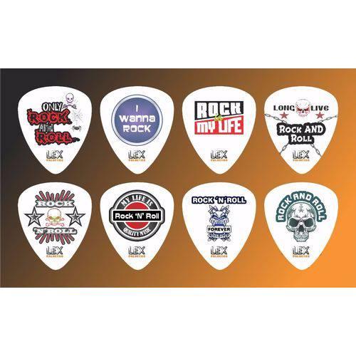 Kit com 8 Palhetas para Guitarra e Violão Tema Rock 001