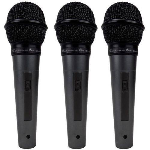 Kit com 3 Microfones com Fio Dinâmico Unidirecional + Cabos Kadosh Kds-300