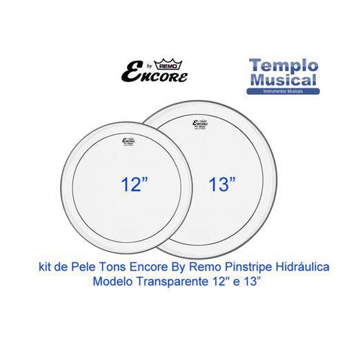 Kit com 2 Peles 12'' 13'' Encore By Remo Hidraúlica Transparente para Tons