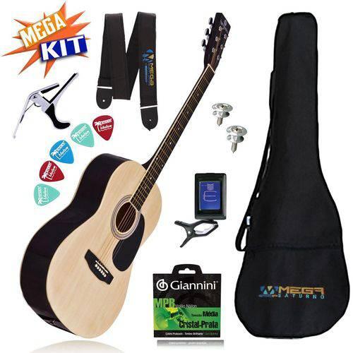 Kit Completo Violão Acústico Aço Gs-11nt Harmonics