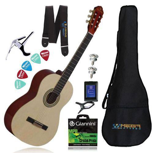 Kit Completo Violão Acústico Clássico Nylon Gna-111nt Harmonics