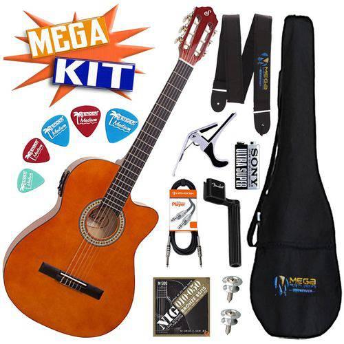 Kit Completo Violão Eletrico Flat Cutaway Nylon Nf-14 Nt Giianinni