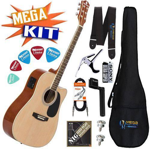 Kit Completo Violão Eletrico Folk Aço Ge-30nt Harmonics