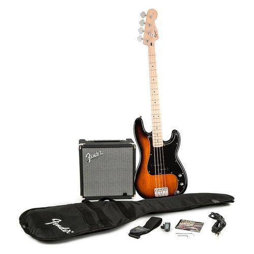 Kit Contrabaixo Squier Affinity Precision Bass Brown Sunburst com Amplificador Rumble 15
