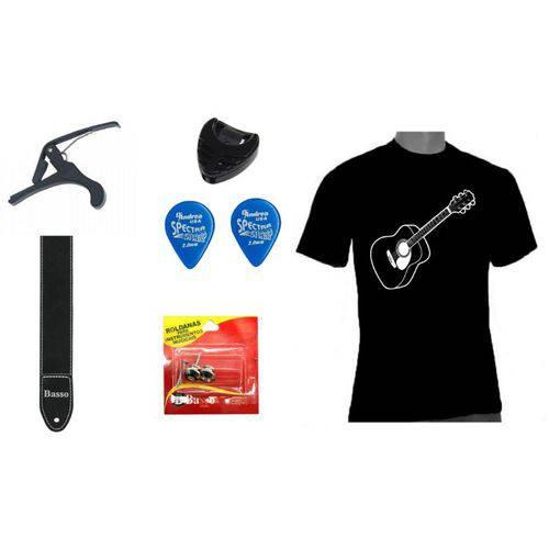 Kit de Acessórios de Violão Camiseta Capotraste Palheta