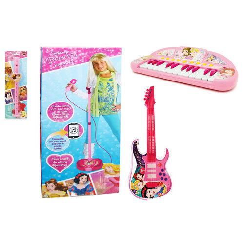 Kit de Instrumentos Musicais - Princesas Disney - Microfone com Base + Guitarra + Teclado + Flauta - Toyng