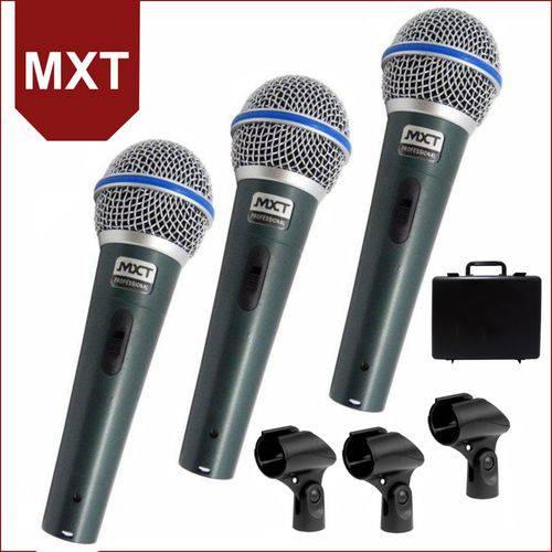 Kit de 3 Microfones de Mão Dinâmico MXT BTM-58A
