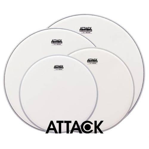 Kit de Peles Attack Drumheads 1-ply Medium Coated Frost Bite Porosa 12¨, 13¨, 16¨, 14¨ Dhafbpacki