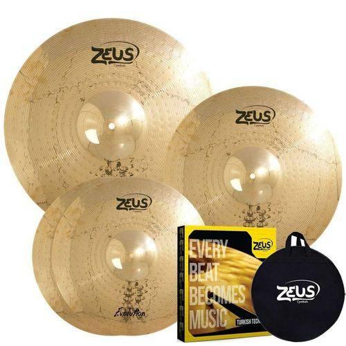 "Kit de Pratos Zeus Evolution Set C em Liga B10 / Hi-Hat 14"" / Crash 16"" / Ride 20"""