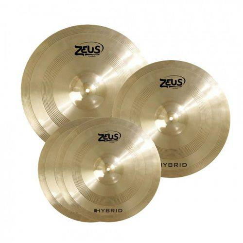 """Kit de Pratos Zeus Hybrid Set C 14"""" 16"""" 20"""" - com Bag"""
