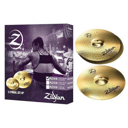 Kit de Pratos Zildjian New Planet Z em Silver Nickel Plz1418 com Chimbal 14¨ e Crash Ride 18¨