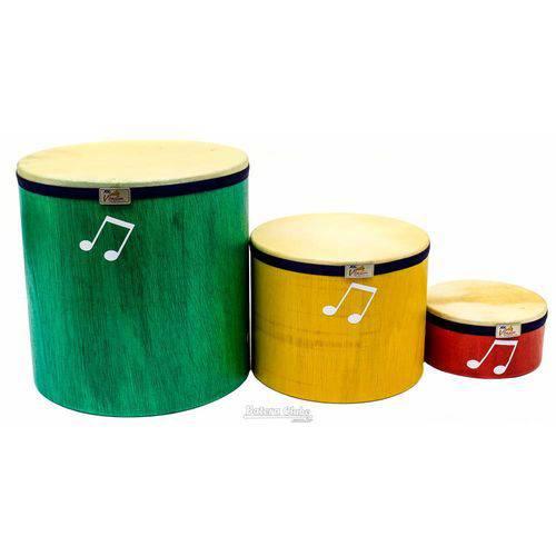 Kit de Surdinhos Jog Vibratom P3642 3pçs em Madeira e Baquetas (musicalização Infantil) 15122