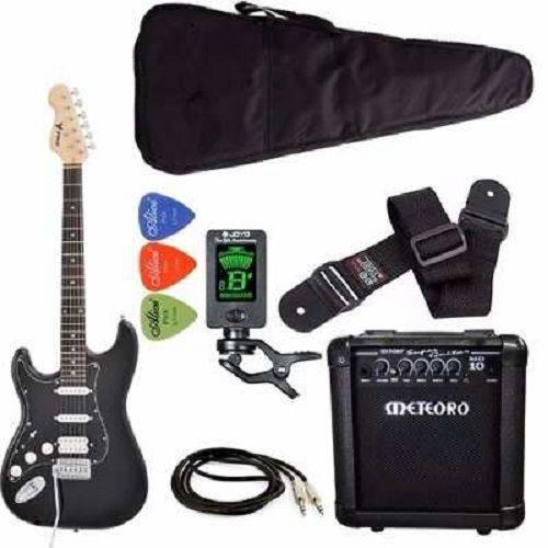 Kit Guitarra Canhoto Phx St-h Lh Preto Cubo Meteoro Afinador