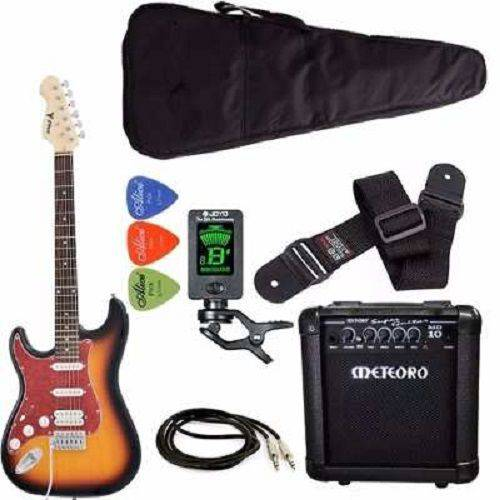 Kit Guitarra Canhoto Phx St-h Sunburst Cubo Meteoro Afinador