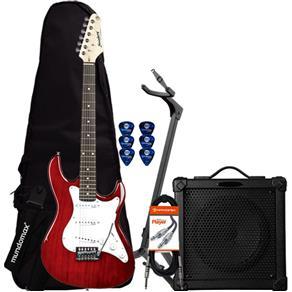 Kit Guitarra EGS216 Vermelha STRINBERG + Cubo + Acessórios