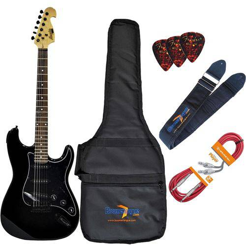 Kit Guitarra Elétrica Strato Mg32 Bk Preta Memphis Completo