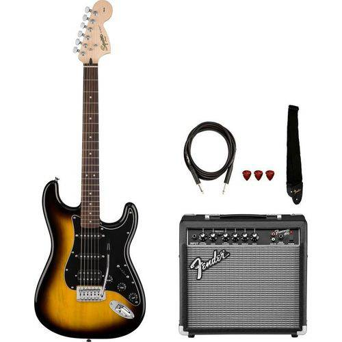 Kit Guitarra Fender Squier Affinity Stratocaster Hss Frontman 15 Brown Sunburst
