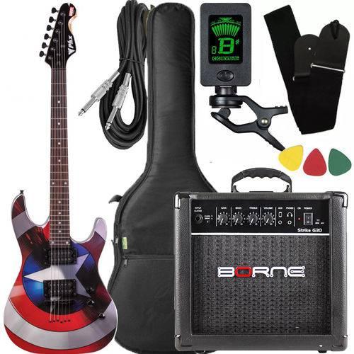 Kit Guitarra Phx Capitão América Gmc-1 Caixa Amplificador Borne