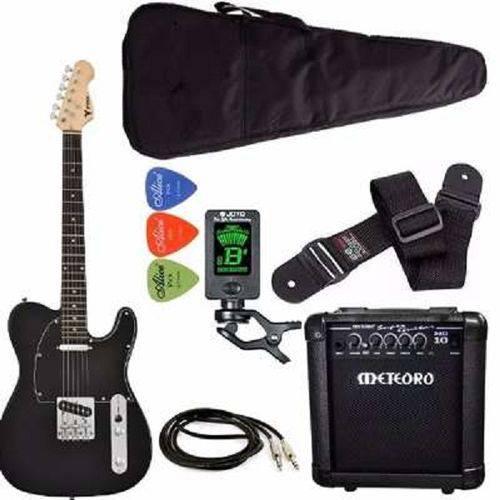 Kit Guitarra Phx Telecaster Tl1 Preto Cubo Meteoro Afinador