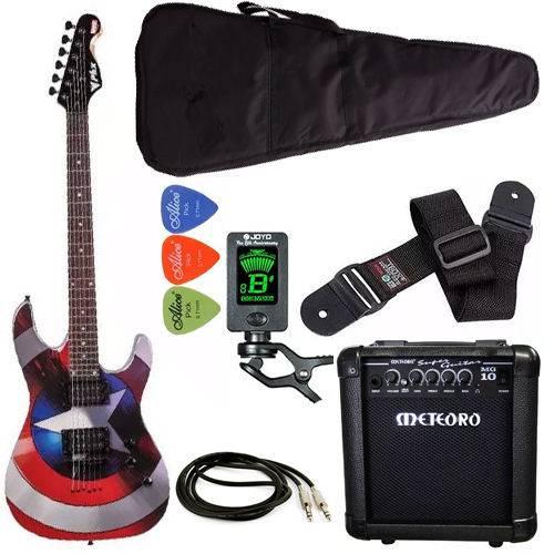 Kit Guitarra Strato Phx Capitãoamérica Meteoro Afinador Capa