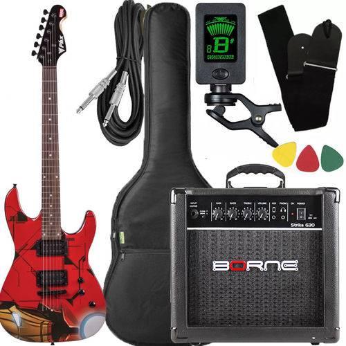 Kit Guitarra Strato Phx Iron Man Cubo Borne Afinador Gmi1