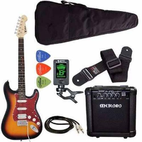 Kit Guitarra Strato Phx St-h Sunburst Cubo Meteoro Afinador