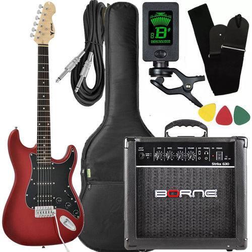 Kit Guitarra Strato Phx Sth Vermelha + Cubo Borne Afinador