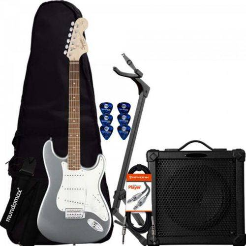 Kit Guitarra Stratocaster Affinity 581 Prata Squier + Cubo + Acessórios
