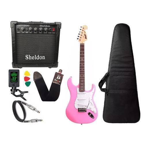 Kit Guitarra Tagima Memphis Mg32 Rosa Amplificador Sheldon
