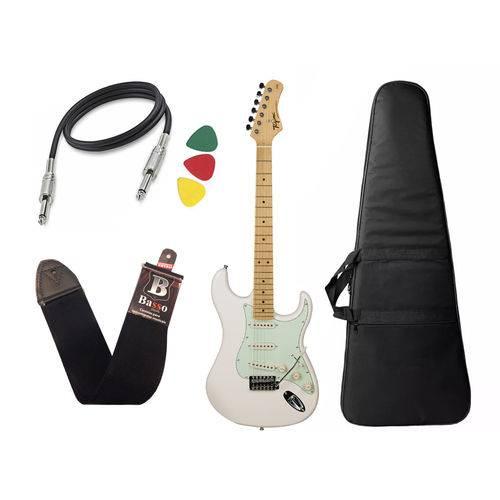 Kit Guitarra Tagima Tg 530 Woodstock Branco Capa Cabo