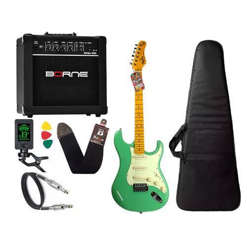 Kit Guitarra Tagima Tg 530 Woodstock Surf Green Cubo Borne